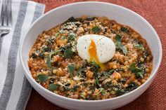 Spicy Fregola Sarda with Soft-Boiled Eggs, Fennel & Kale . Visit https://www.blueapron.com/ to receive the ingredients.