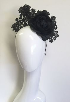 Black floral lace headpiece