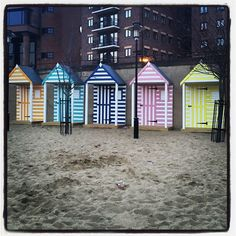 Colourful beachuts at the Quayside Seaside (June Beach Huts, Seaside, June, Cabin, House Styles, City, Pictures, Home Decor, Photos