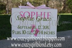 Personalized Baby Announcement small sign with by crazygirlblond, $20.00