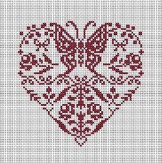 grilles point de croix: Coeur de papillons et fleurs