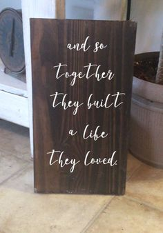 Together Beautiful sign for any rustic or farmhouse decor! Love this saying!!! #farmhouse #rusticdecor #Custom