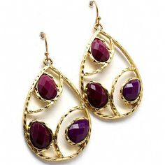 Beata's Purple Stone Accented Gold Teardrop Earring