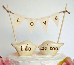 Wedding cake topper and LOVE banner..package by SkyeArt on Etsy, $56.00