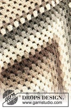 """Country - Frazadas DROPS, en ganchillo / crochet, en 1 aplicación grande ó 6 aplicaciones pequeñas en """"Lima"""". - Free pattern by DROPS Design"""
