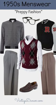 """Men's 1950s Ivy League """"Preppy"""" and """"Sporty"""" Fashion Looks. Get the look at VintageDancer.com"""