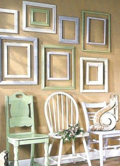 Painted chairs and frames  Makes me think of Alli