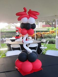 Black, Red & White Balloon Centerpeice