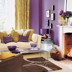 Living room with bold and bright purple painted walls, Pantone color of the year 2014 radiant orchid