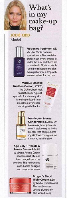 Fabulous supermodel and Guinot fan Jodie Kidd loves Masque Essentiel Nutrition Confort!   As featured in Stella Magazine the award-winning mask is a great 'pick me up' for the skin revealing instant radiance. The Essential oils of Rosemary, Lavender and Thyme soothe, tone and regenerate the skin whilst providing pure relaxation.