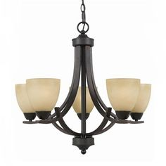 Value Series 240 5-light chandelier.     Antiqued Cognac painted glass shades