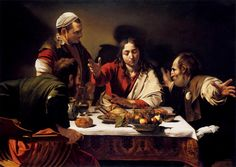 Caravaggio or Michelangelo Merisi o Amerighi da Caravaggio (Italian [Baroque] Supper at Emmaus, Oil on canvas, 141 cm × 196 cm. Caravaggio included himself as the figure on the top left. Baroque Painting, Baroque Art, Italian Baroque, Religious Paintings, Religious Art, Michelangelo Caravaggio, Michelangelo Paintings, Renaissance Kunst, Christian Art