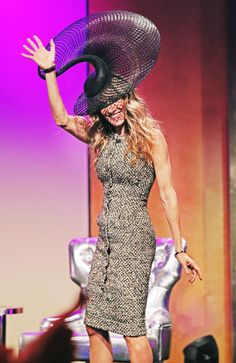 Sarah Jessica Parker Wearing A Hat Designed by Philip Treacy at The VRC Oaks Club Ladies Luncheon in Melbourne.