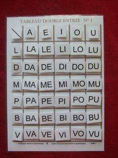 Tableau double entrée N°1 majuscule (430911) - Autisme et Apprentissages Brain Teasers For Kids, French Language Lessons, Learn To Read, Kids Education, Homeschool, Classroom, Teaching, Activities, Work Sheet