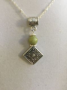 Celtic Silver and Connemara Marble Necklace by joytoyou41 on Etsy