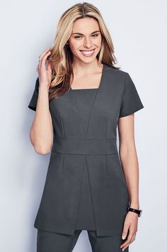 New this season, graphite grey beauty tunic with feminine v-insert panels, suitable for many professions including beauty, hairdressing, spa and salon Salon Uniform, Spa Uniform, Scrubs Uniform, Scrubs Outfit, Medical Uniforms, Work Uniforms, Beauty Therapist Uniform, Beauty Tunics, Scrubs Pattern