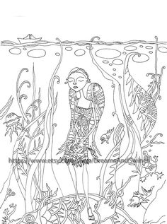 """Coloring page for adults """"The Mermaid"""" by Kitaeva Natasha (DreamsAndSwines, Etsy). 4$. Large poster for coloring - """"Stories Found in the Grass"""" series. Coloring pages, coloring art, zendoodle coloring, adult coloring pages, pen and ink drawing, digital print, coloring book, art of coloring, Instant download, art print , anti-stress, hand drawn, line art, black and white, illustration, butterflies, beetles, fairy tale."""