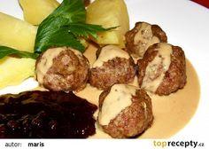 Švédské masové kuličky s omáčkou a brusinkami recept - TopRecepty.cz Steak, Beef, Cooking, Ethnic Recipes, Food, Meat, Kitchen, Essen, Steaks
