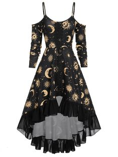 High Low Cold Shoulder Flounce Sun and Moon Print Gothic Dress are beautiful, lovable and affordable. You deserve it! Pretty Outfits, Pretty Dresses, Mode Outfits, Fashion Outfits, Dress Fashion, Fashion Shoes, Mini Robes, Fashion Mode, Men Fashion