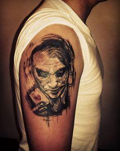 #progress #tattoo #tattooinprogress #portrait #portraittattoo #jolly #joker #jokertattoo #card #blacktattoo #blackandgray #tattooartist #tattooer #abstract #art #arttattoo