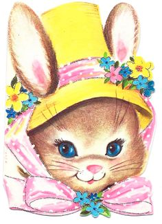 Cute Bunny in Bonnet! Easter Printables, Vintage Greeting Cards, Cute Bunny, Easter Crafts, Vintage Images, Vintage Christmas, Babe, Easter Card, Easter Bunny Images