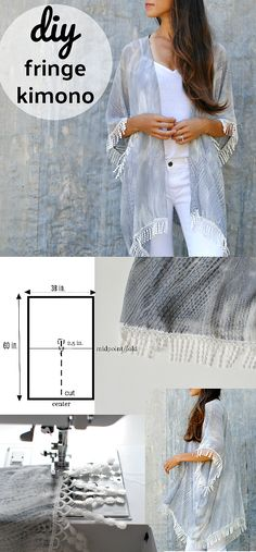 I love the effortless look of a drapey kimono shrug. A versatile piece for all occasions from the pool to an evening cover . Diy Clothes Kimono, Kimono Diy, Motif Kimono, Kimono Sewing Pattern, Kimono Shrug, Shrug Pattern, Fringe Kimono, Sewing Clothes, Kimono Tutorial