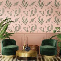 GP & J Baker Wallpaper- Ferns Blush Coral Living Rooms, Living Room Green, Living Room Decor, Peach And Green, Pink And Gold, Blush Pink, Fern Wallpaper, Country Look, Gp&j Baker