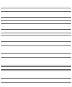 This letter sized music manuscript paper has ten staves for Music manuscript template