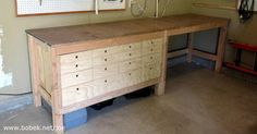 I built a workbench in my garage shop.The OSB top sits on a frame, and has a hardboard skin. The left side has 3 drawers, and the right is open. Workbench With Drawers, Workbench Top, Workbench Plans, Building A Workbench, Tool Bench, Garage Cabinets, Cabin Homes, Garage Storage, Home Repair