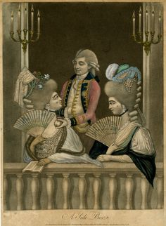Two fashionably-dressed women in a theatre box holding fans, the one on the left looking up at a man who offers her a peach, his other hand tucked into his waistcoat.  6 December 1781  Hand-coloured mezzotint with some etching