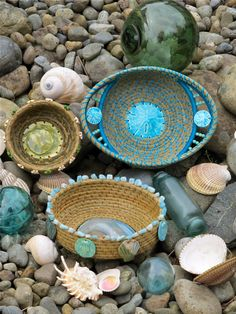 Beach themed pine needle baskets.