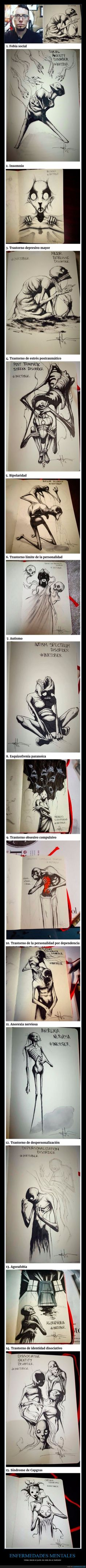 Este artista dibuja cada día del mes una enfermedad mental distinta y sus ilustraciones son geniales - Vistas desde el punto de vista de un ilustrador   Gracias a http://www.cuantarazon.com/   Si quieres leer la noticia completa visita: http://www.estoy-aburrido.com/este-artista-dibuja-cada-dia-del-mes-una-enfermedad-mental-distinta-y-sus-ilustraciones-son-geniales-vistas-desde-el-punto-de-vista-de-un-ilustrador/