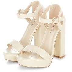 Cream Platform Ankle Strap Heels (265 ARS) ❤ liked on Polyvore featuring shoes, pumps, heels, open toe pumps, open toe platform pumps, platform shoes, heel pump and ankle wrap pumps