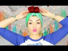 Cute & Fast (No Heat) 3 minute  Bandana Hairstyle - this is cute and bohemian, and great when you have no time: