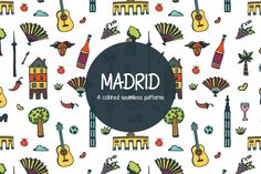 We present Madrid Vector Free Pattern. This is a wonderful set of drawings (wine, musical instrument, architecture, etc.) that are associated with the Free Vector Graphics, Vector Art, Pattern Design, Free Pattern, Website Design Layout, Icon Set, Traveling By Yourself, Madrid, Graphic Design