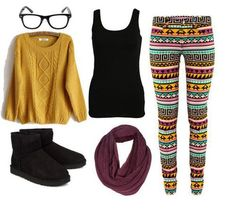 black ankle boots or flats, patterned leggings, neutral tank top, coordinating sweater and infinity scarf.