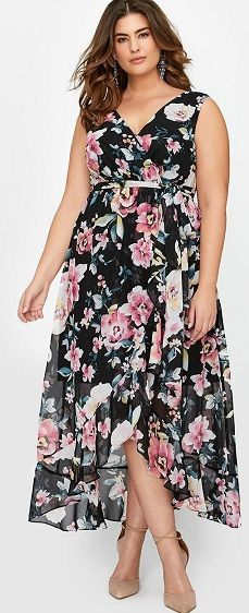 Plus Size Sleeveless Printed Maxi Dress / Floral Print Maxi Dress Plus Size / Maxi Dress Plus Size Floral Print - This dress is for women who fit plus sizes 14 to 24 - Dare to wear prints with this feminine plus size printed maxi dress. #PlusSizeHighLowMaxi #PlusSizeMaxi #PlusSizeHighLowDress