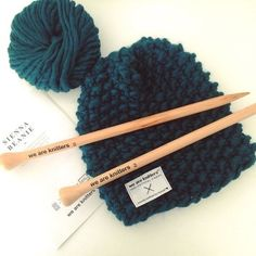 Sienna Beanie Kit : knitting hat for beginners. Knitting Kits, Easy Knitting, Knitting Needles, Knitting Projects, Crochet Projects, Knitting Patterns, Crochet Patterns, Start Knitting, Knitting Stitches