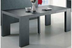 Table console extensible gris satiné 4 rallonges XL