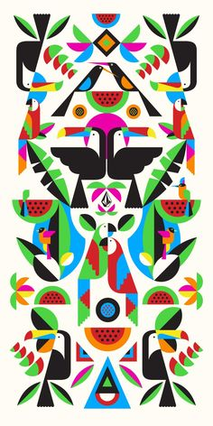 """Twitter / @malikafavre """"Here is the central piece of my Volcom capsule collection : Toucans,Parrots and Watermelons beach towel : ) """""""