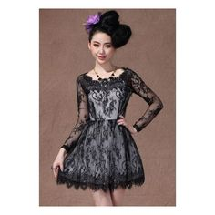 Black Boat Neck Long Sleeve Overlay Lace Flare Dress via Polyvore