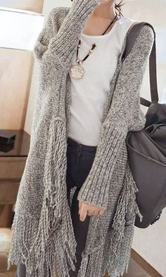 Oversized Fringed Cardigan - Cool Oversized Cardigan