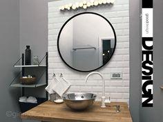 Okrągłe lustro Scandi w czarnej ramce 80 cm KOLORY