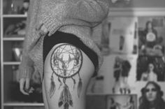 a couple hours old.dream catcher with deer skull, black and grey, done by jay ferring, new moon tattoo, ottawa.