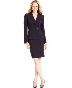 Evan Picone Suit, Pleated-Collar Jacket & Skirt - Womens Suits ...