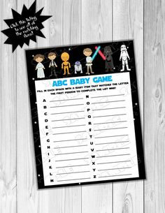 Starwars Baby shower games Star wars abc baby by greenmelonstudios