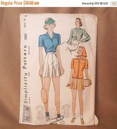 Vintage 40's Sewing Pattern Simplicity Pattern 2802