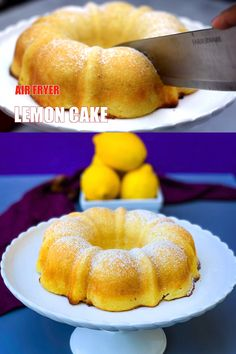 Easy Air Fryer Lemon Pound Cake Dessert is a quick recipe that will show you how to make a cake from scratch in an air fryer! Baking a healthy cake is a cinche using a cake pan, bundt pan, or ramekins and your Power Air Fryer, Phillips, Nuwave, or any air fryer brand. #AirFryer #AirFryerCake #CupcakeBirthdayCake Air Fryer Recipes Wings, Air Fryer Recipes Appetizers, Air Fryer Recipes Vegetables, Air Fryer Recipes Snacks, Air Fryer Recipes Breakfast, Air Frier Recipes, Baked Vegetables, Healthy Cake, Healthy Dessert Recipes