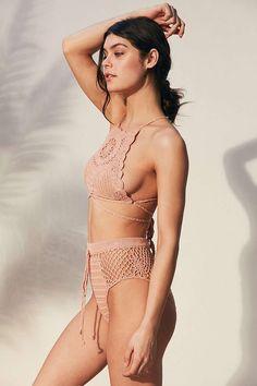 UO Somedays Lovin Daphne Crochet High-Neck Bikini Top & High-Waisted Bikini Bottom (Rose)