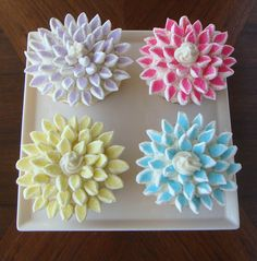 """With our batch of 24 cupcakes, my friend C and I decided to split half of them into the """"pies"""" and half into this blooming chrysanthemum cu..."""